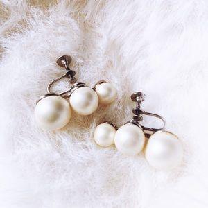 Vintage 1950's Faux Pearl Earrings